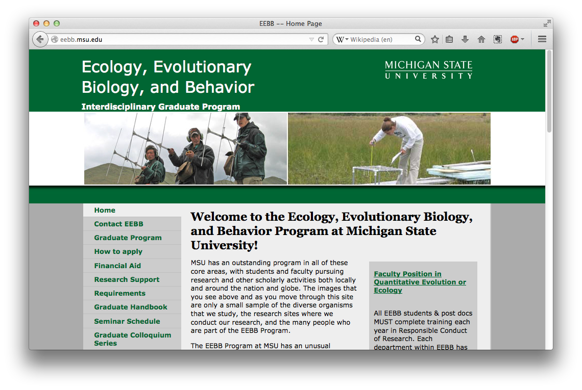 Ecology, Evolutionary Biology, and Behavior Program
