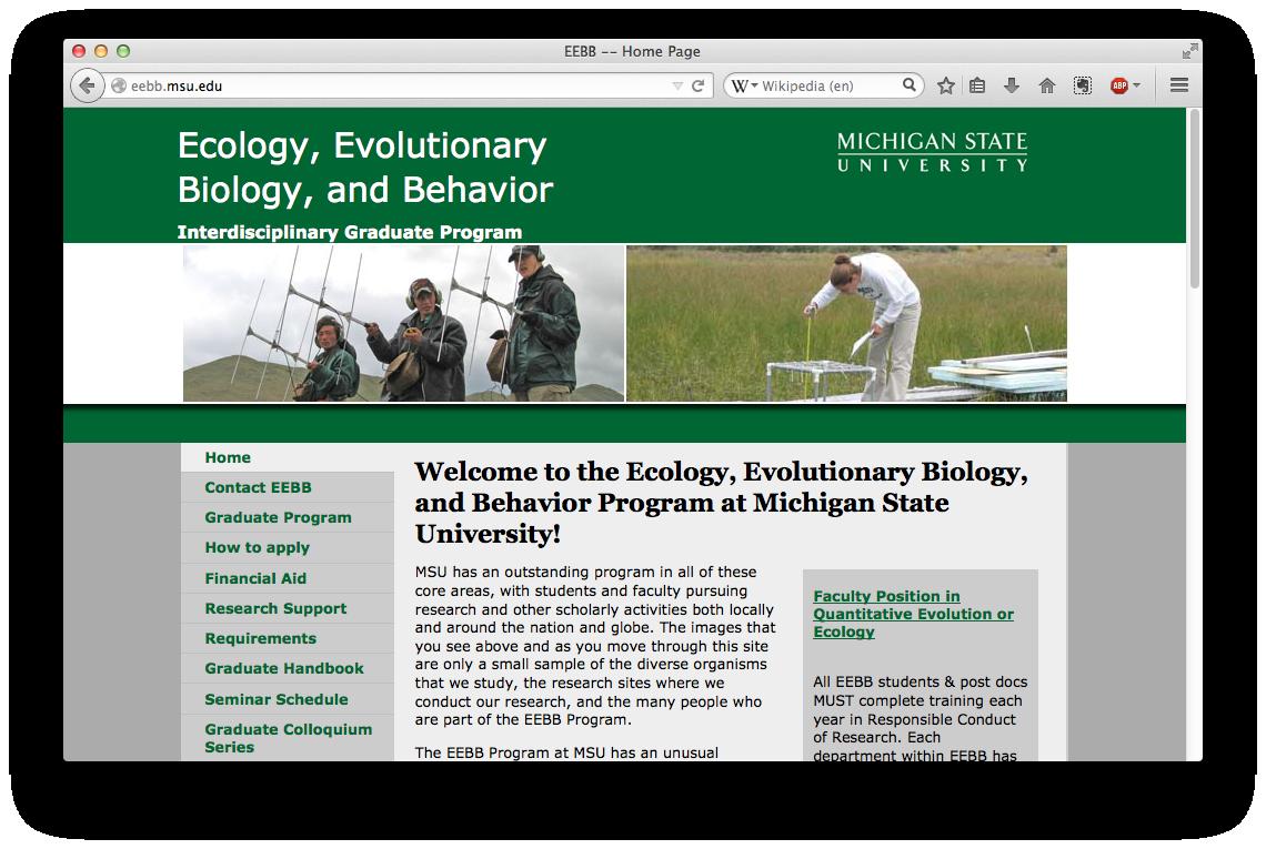 Ecology, Evolutionary Biology, and Behavior Program