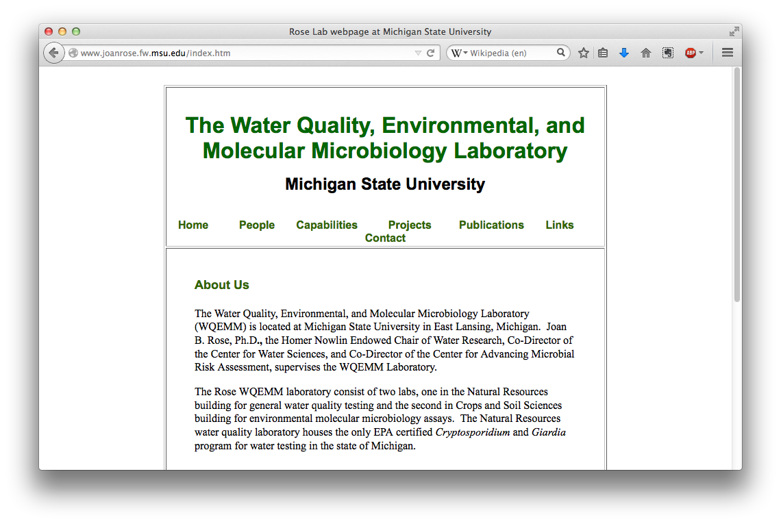 Water Quality, Environmental, and Molecular Microbiology Laboratory
