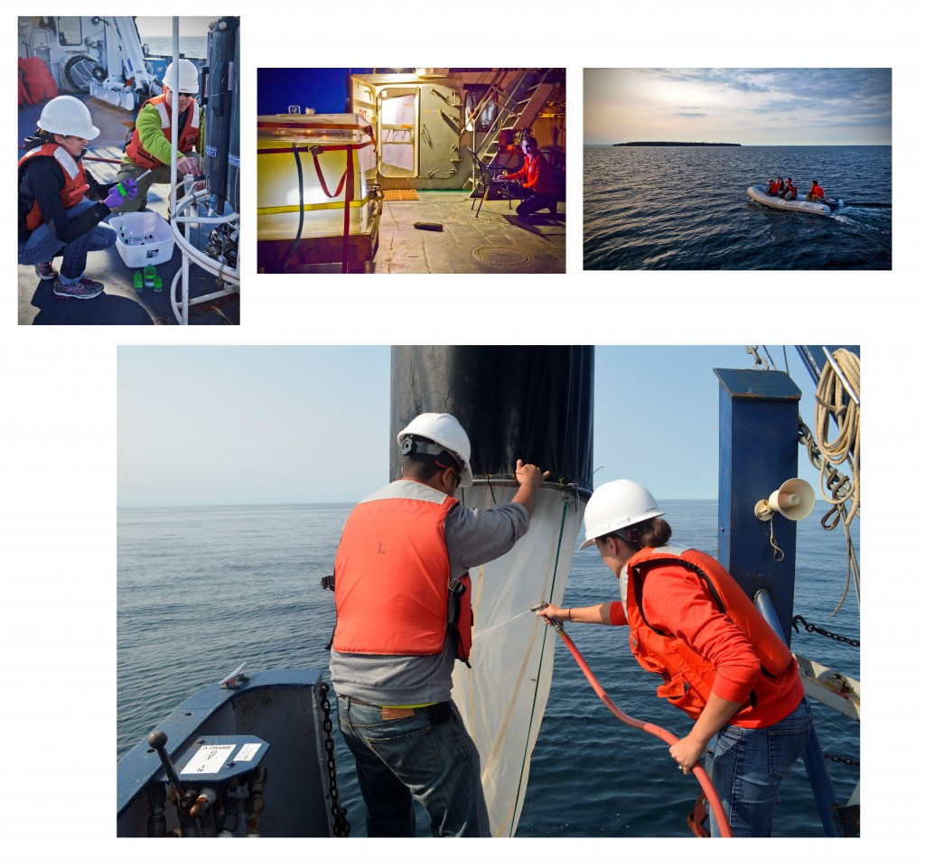 Shipboard research involves many activities: collecting water and chemistry data from a variety of depths, using nets to collect small swimming organisms, practicing driving a remotely operated vehicle in a container on board, and setting off into the Apostle Islands for a shallow water expedition (photos by Tristan Horner and Chris Filstrup)