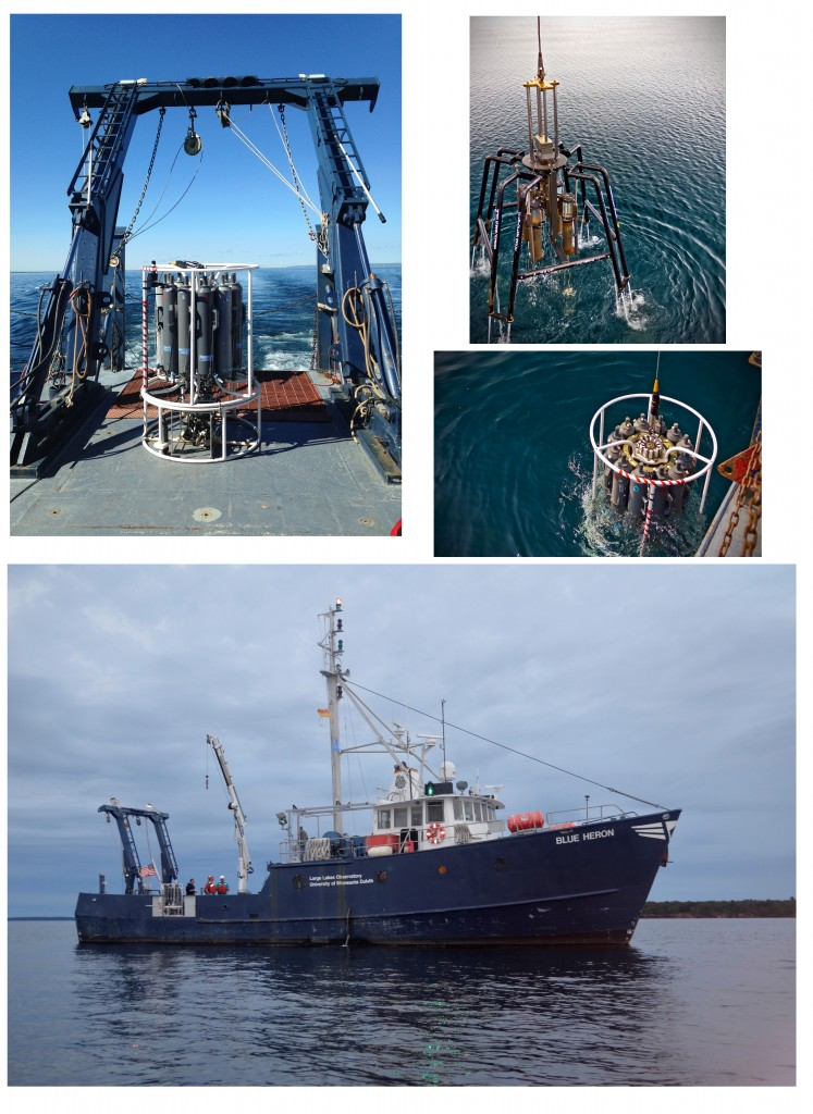 Ship operations on the R/V Blue Heron in Lake Superior. Sediment and water collectors are lowered on motorized winches, often hundreds of feet below the surface. Notice how blue and clear the water is in comparison to Lake Erie (photos by Chris Filstrup, Tristan Horner and Kateri Salk)